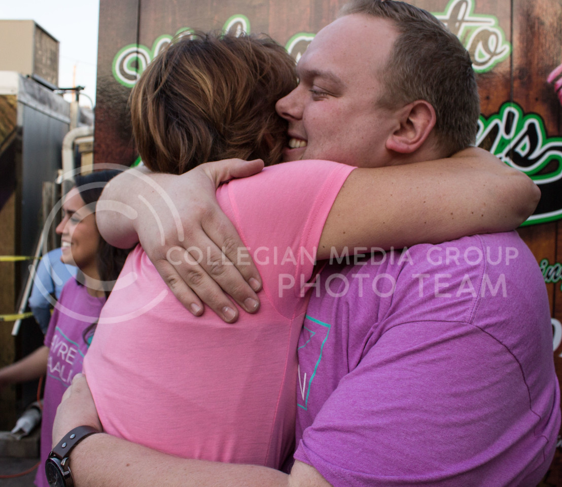 Jack Ayres, senior in chemical engineering and student body president-elect, embraces his mother, Suzy Ayres, after recieving the news that he is the next student body president of K-State on March 8, 2017. (Regan Tokos | The Collegian)