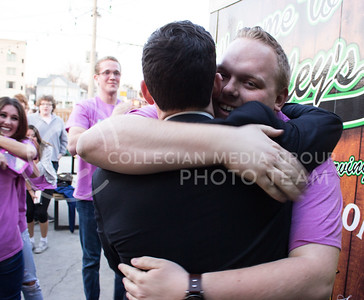 Jack Ayres, senior in chemical engineering and student body president-elect, embraces Nick Mannoni, senior in electrical engineering, after hearing the results of the student body presidential election on March 8, 2017. (Regan Tokos | The Collegian)