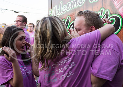 Jack Ayres, senior in chemical engineering and student body president-elect, and Olivia Baalman, junior in computer science and student body vice president-elect, clebrate in the moments after their victory with their campaign manager, Annie Jewell, junior in mass communications, on March 8, 2017. (Regan Tokos   The Collegian)