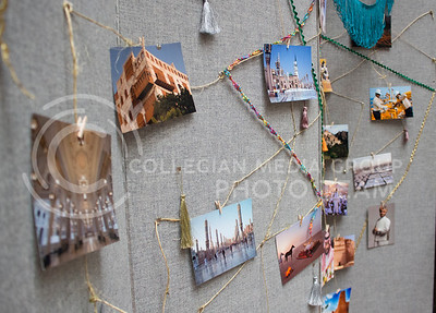 To celebrate National Day of Saudi Arabia, pictures of the country are hung up around the booths in the K-State Student Union courtyard to show different cities in Saudi Arabia on Oct. 6, 2016. (Miranda Snyder | The Collegian)