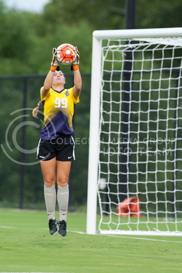 And Wench, freshman goalie, catches the ball during the Wildcats scrimmage on August 6, 2016 at the K-State Soccer Complex. White beat Purple 2-0. (Evert Nelson | The Collegian)
