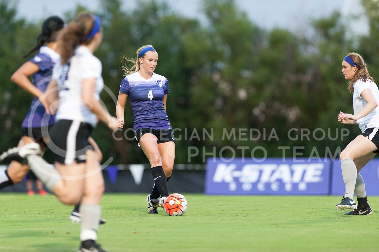 Abby Sieperda, junior forward, controls the ball during the Wildcats scrimmage on August 6, 2016 at the K-State Soccer Complex. White beat Purple 2-0. (Evert Nelson | The Collegian)