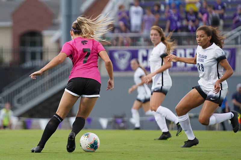 Freshman Carly Mcconville dribbling the ball while BYU players attempt to defend on September 21, 2019. BYU won 5-0.  (Luis Villarreal-Reyes | Collegian Media Group)