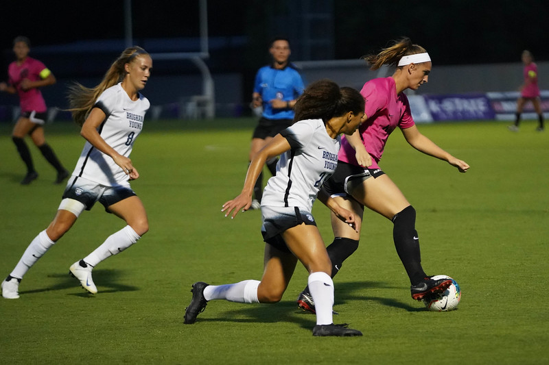 Junior Shelby Lierz controlling the ball while being covered by two BYU players on September 21, 2019. BYU won 5-0.  (Luis Villarreal-Reyes | Collegian Media Group)