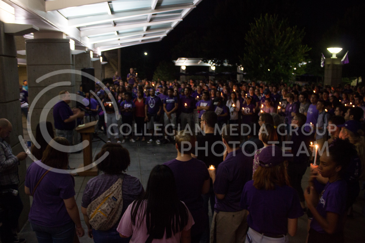 Students gather at a solidarity rally held in Bosco Plaza on Sept. 14 to listen to other students. In this image, Jack Ayres, student body president, addresses the crowd. The rally was held in response to white nationalist posters were seen on campus. (Regan Tokos   Collegian Media Group)
