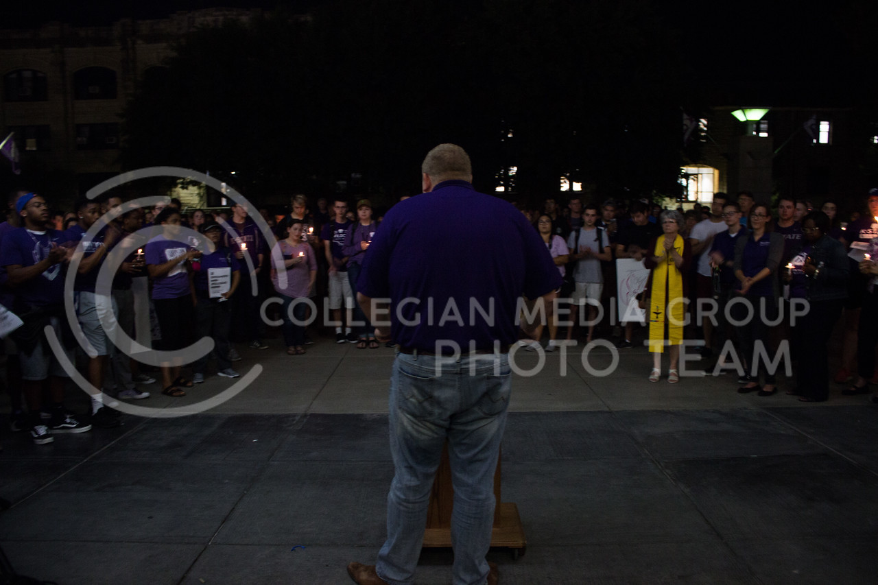 Jack Ayres, student body president, addresses a crowd of students gathered at a solidarity rally on Sept. 14. The rally was held in response to white nationalist posters were seen on campus. (Regan Tokos   Collegian Media Group)