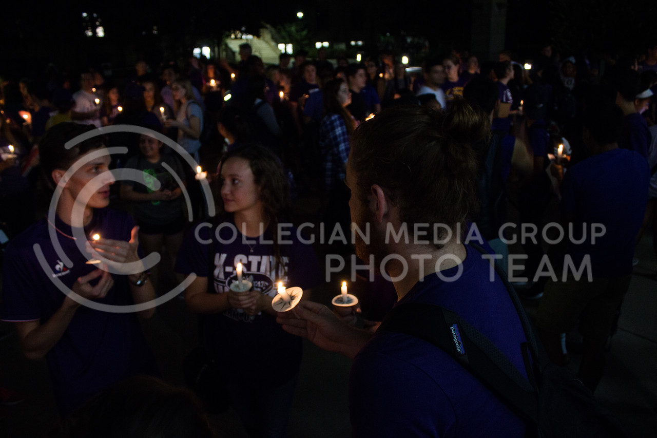 Students gather at a solidarity rally held in Bosco Plaza on Sept. 14. The rally was held in response to white nationalist posters were seen on campus. (Regan Tokos | Collegian Media Group)