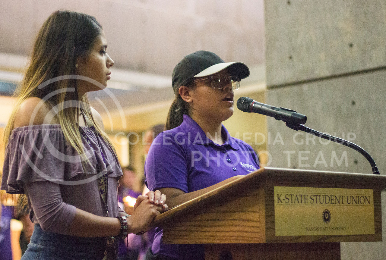 Sophomore Leslie Ramirez and Senior Paloma Roman represent the Hispanic American Leadership Organization and shares their thoughts on how we can start making a change at the Solidarity rally at the Bosco Plaza on Sept. 14th, 2017. (Kelly Pham | The Collegian)