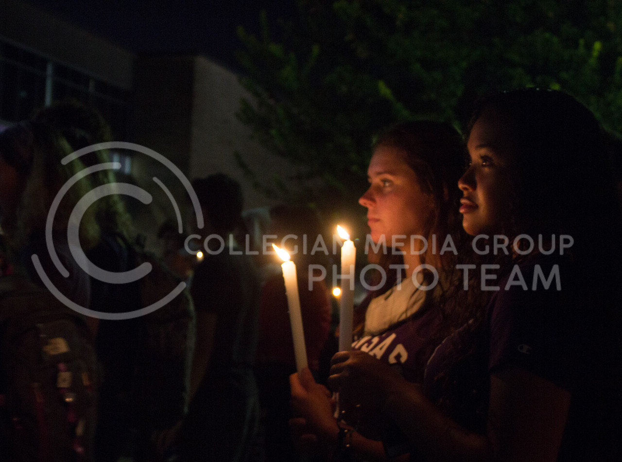 Students gather at a solidarity rally held in Bosco Plaza on Sept. 14. The rally was held in response to white nationalist posters were seen on campus. (Regan Tokos   Collegian Media Group)