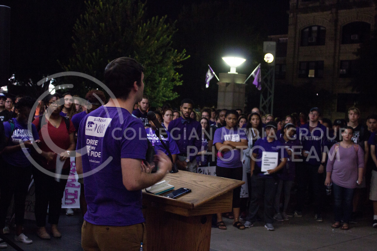 Jonathan Cole, senior in mechanical engineering, addresses students at a solidarity rally held in Bosco Plaza on Sept. 14. The rally was held in response to white nationalist posters were seen on campus. (Regan Tokos   Collegian Media Group)