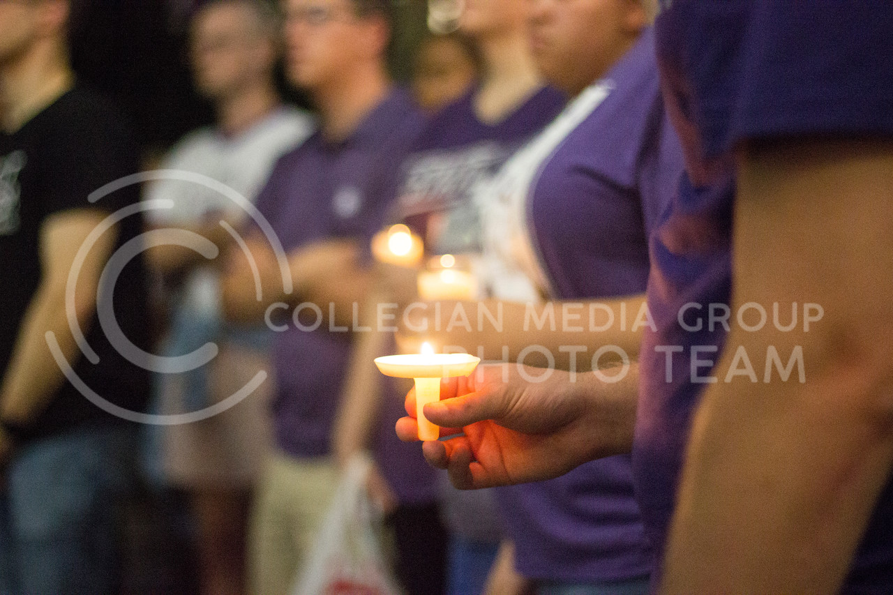 Students of Kansas State University come together to listen and speak about standing together and making a change at the Solidarity rally at the Bosco Plaza on Sept. 14th, 2017. (Kelly Pham   The Collegian)