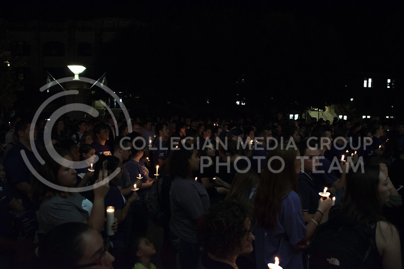 Numerous students, faculty, and residents of Manhattan gathered for the Stand in Solidarity Rally. The rally was held on Sept. 14, 2017 in Bosco Plaza. (Olivia Bergmeier | Collegian Media Group)