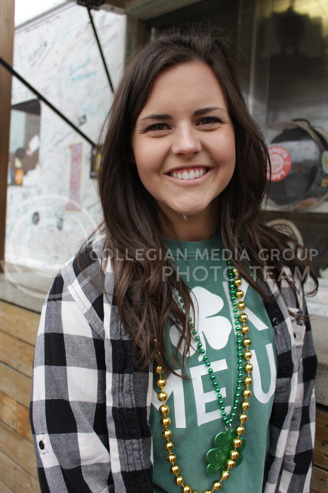 "Hailey Purdy, senior in Journalism and Mass Communications<br /> ""My favorite part about fake patty's day is getting to be fellow students and just have fun with my friends.""<br /> (Alanud Alanazi 