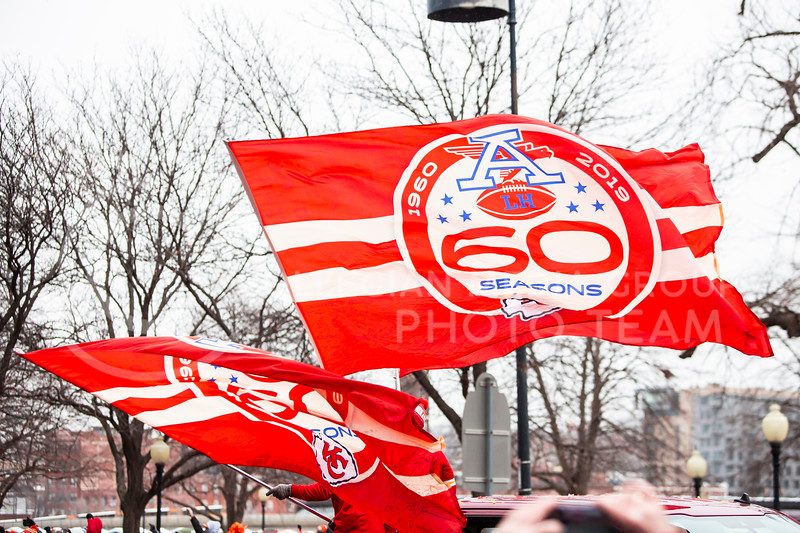 Chiefs fans from all across the country come together in Kansas City, Mo. for the Super Bowl LIV celebration downtown on Feb. 5, 2020. The parade began at 11:30 a.m. followed by a rally at Union Station. The last time the city saw a crowd like this was in 2015 when the Royals won the World Series. (Logan Wassall   Collegian Media Group)