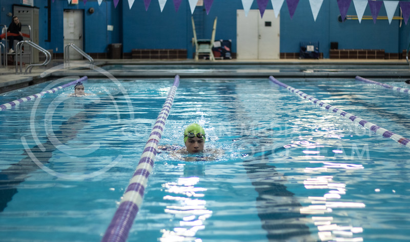 Hamilton Brown, a sophmore here at Kstate, swimming a cool down lap of the workout with the K-State Swim Club on feb 24th, 2020. (Sreenikhil Keshamoni | Collegian Media Group)