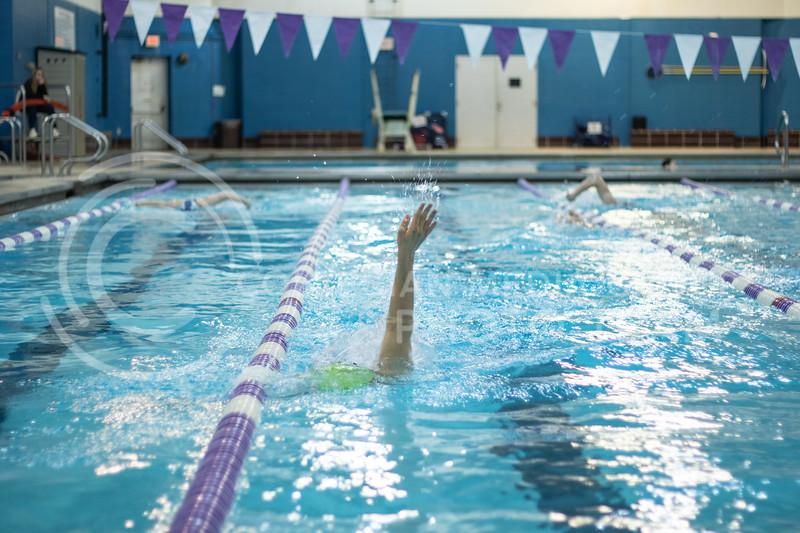Hamilton Brown, a sophmore here at Kstate, swimming the backstroke with the K-State Swim Club on feb 24th, 2020. (Sreenikhil Keshamoni | Collegian Media Group)