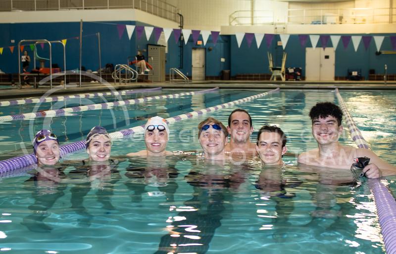 The K-State Swim Club, from the left; Anne Criddle , Junior<br /> Kelli Jackson, Freshman<br /> Christian Moden, Soophmore<br /> Isaiah Elsener, Sophmore<br /> Will Kelly, Freshman<br /> Hamilton Brown, Freshman<br /> Jonah Murray, Freshman<br /> during their practice on feb 24th 2020. (Sreenikhil Keshamoni | Collegian Media Group)