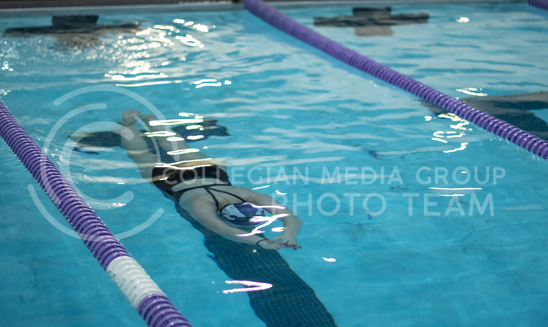 Anne Criddle, junior here at Kstate, dove in for her first lap of the workout with the K-State Swim Club on feb 24th, 2020. (Sreenikhil Keshamoni | Collegian Media Group)