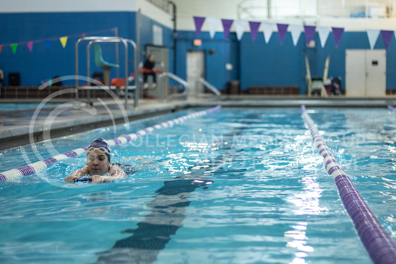 Kelli Jackson, freshman here at Kstate, swimming a cool down lap of the workout with the K-State Swim Club on feb 24th, 2020. (Sreenikhil Keshamoni | Collegian Media Group)