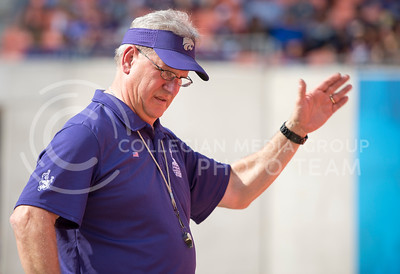 Director of Bands Frank Tracz directs the K-State Marching Band during the pep rally at the BBVA Compass Stadium in Houston, Texas on Dec. 27, 2016. (George Walker | The Collegian)