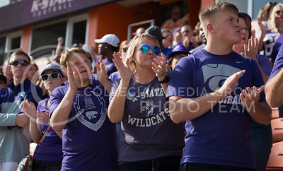 K-State fans clap to the Alma Mater during the pep rally at the BBVA Compass Stadium in Houston, Texas on Dec. 27, 2016. (George Walker | The Collegian)