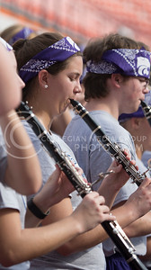 A member of the K-State Marching Band performs during the pep rally at the BBVA Compass Stadium in Houston, Texas on Dec. 27, 2016. (George Walker | The Collegian)