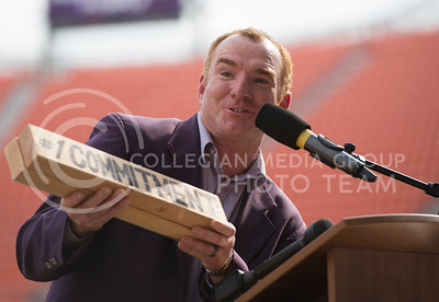 Mike Finnegan, assistant professor for the School of Leadership Studies, speaks during the pep rally at the BBVA Compass Stadium in Houston, Texas on Dec. 27, 2016. (George Walker | The Collegian)