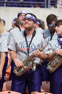 A member of the K-State Marching Band during the pep rally at the BBVA Compass Stadium in Houston, Texas on Dec. 27, 2016. (George Walker | The Collegian)