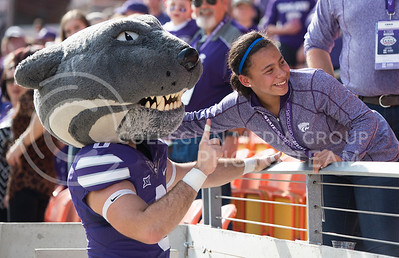 Willie the Wildcat poses with a K-State fan during the pep rally at the BBVA Compass Stadium in Houston, Texas on Dec. 27, 2016. (George Walker | The Collegian)