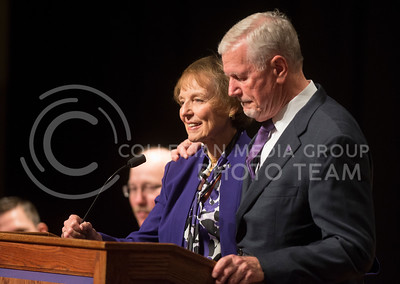 Gen. Richard B. Myers and his wife Mary Jo Myers speak during the Kansas Board of Regents meeting where Gen. Myers was named the 14th president of K-State on Nov. 15, 2016. (George Walker | The Collegian)