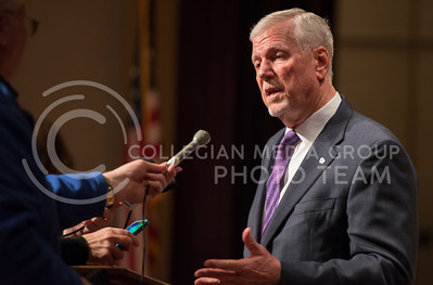 Gen. Richard B. Myers speaks to press following the Kansas Board of Regents meeting where Myers was named the 14th president of K-State on Nov. 15, 2016. (George Walker | The Collegian)