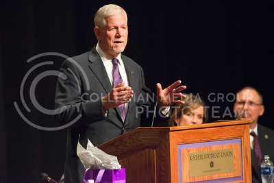General Richard Myers speaks to a crowd gathered in Forum Hall on Nov. 15, 2016 after being announced the 14th President of Kansas State University. (Evert Nelson | The Collegian)