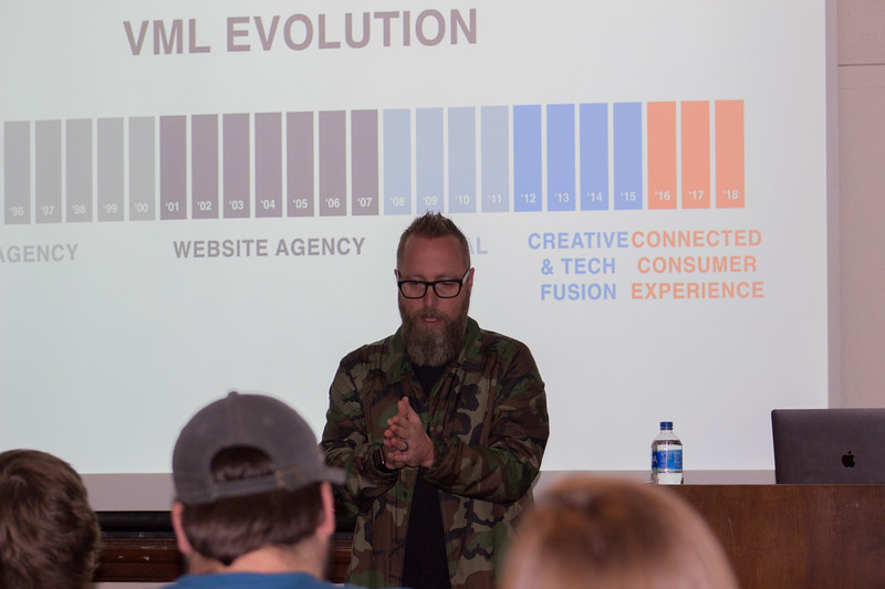 Tony Snethen, executive creative director at VML (a global marketing agency), talks about how the company was able to become so successful at his lecture on Thursday, April 19th.  (Sarah Millard | Collegian Media Group)