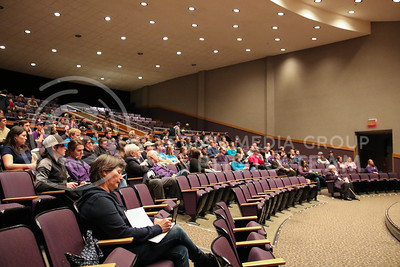 """Upson Lecture Series Attendees watch Barry Flinchbaugh give his """"Ag Policy in the Trump Administration"""" lecture in Forum Hall on April 4, 2017. (John Benfer 