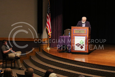 """Barry Flinchbaugh gives his lecture """"Ag Policy in the Trump Administration"""" at the Upson Lecture Series in Forum Hall on April 4, 2017. (John Benfer 
