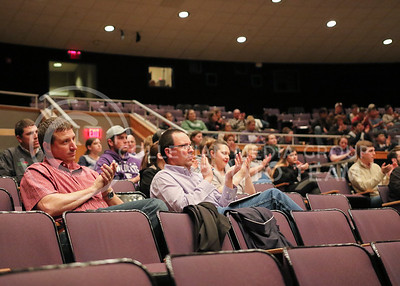 """Upson Lecture Series attendees applaud Barry Flinchbaugh as he is introduced to the stage where he gave his """"Ag Policy in the Trump Administration"""" lecture in Forum Hall on April 4, 2017. (John Benfer 