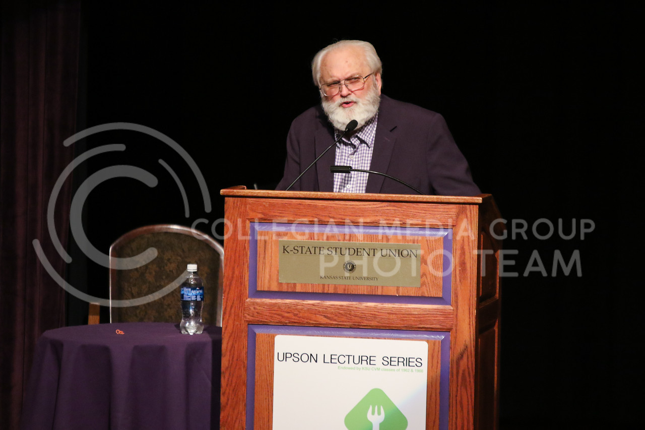 "Barry Flinchbaugh gives his lecture ""Ag Policy in the Trump Administration"" at the Upson Lecture Series in Forum Hall on April 4, 2017. (John Benfer 