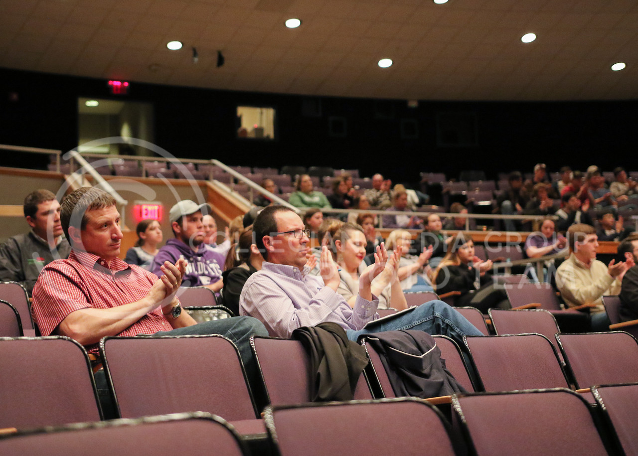 "Upson Lecture Series attendees applaud Barry Flinchbaugh as he is introduced to the stage where he gave his ""Ag Policy in the Trump Administration"" lecture in Forum Hall on April 4, 2017. (John Benfer 