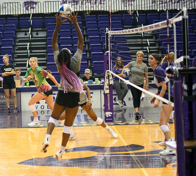 Gloria Mutiri sets the ball during a practice at Ahearn Fieldhouse. Gloria is a  Sophomore for KSU Volleyball team, studying Mass Communications, Gloria is positioned opposite of the setter. Oct 18, 2019. (Dylan Connell | Collegian Media Group)
