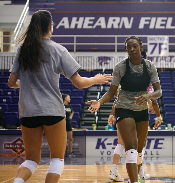 Gloria Mutiri, Sophomore for KSU Volleyball team, studying Mass Communications. Gloria is positioned opposite of the setter. Oct 18, 2019. (Dylan Connell | Collegian Media Group)
