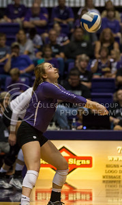 Senior libero Kersten Kober hits the ball during the K-State volleyball match against Baylor in Ahearn Field House on Oct. 29, 2016. (Nathan Jones | The Collegian)