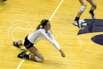 Senior setter Katie Brand passes the ball in the game against Baylor on Oct. 29, 2016, in Ahearn Field House. (Maddie Domnick | The Collegian)