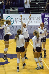 The K-State volleyball team celebrates after winning a point against Baylor on Oct. 29, 2016, in Ahearn Field House. (Maddie Domnick | The Collegian)