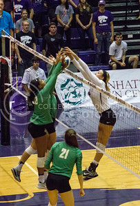 Senior setter Katie Brand blocks the ball in the game against Baylor on Oct. 29, 2016, in Ahearn Field House. (Maddie Domnick | The Collegian)