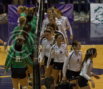 The teams shake hands before the K-State volleyball match against Baylor in Ahearn Field House on Oct. 29, 2016. (Nathan Jones | The Collegian)