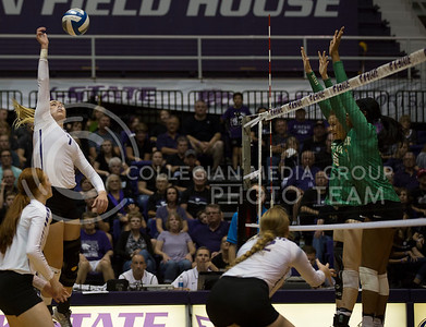 Sophomore outside hitter Kylee Zumach spikes the ball over the net during the K-State volleyball match against Baylor in Ahearn Field House on Oct. 29, 2016. (Nathan Jones | The Collegian)