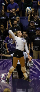 Senior outside hitter Brooke Sassin jumps to hit the ball during the K-State volleyball match against Baylor in Ahearn Field House on Oct. 29, 2016. (Nathan Jones | The Collegian)