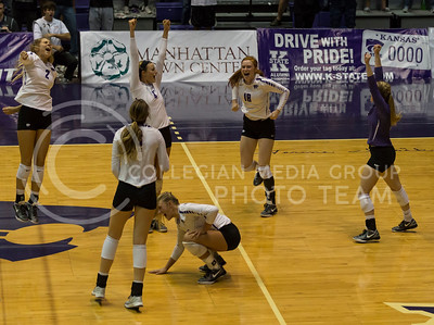 The K-State volleyball team celebrates a point during the match against Baylor in Ahearn Field House on Oct. 29, 2016. (Nathan Jones | The Collegian)