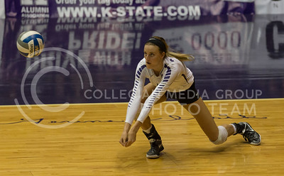 Senior setter Katie Brand hits the ball during the K-State volleyball match against Baylor in Ahearn Field House on Oct. 29, 2016. (Nathan Jones | The Collegian)