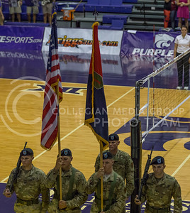 Soldiers from Fort Riley present the colors before the K-State volleyball match against Baylor in Ahearn Field House on Oct. 29, 2016. (Nathan Jones | The Collegian)